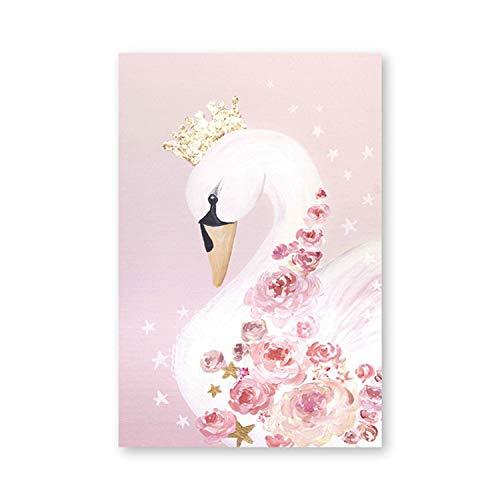 hotmoment-uk Schwan Prinzessin Poster Leinwand Gemälde Baby Mädchen Zimmer Art Prints Kinderzimmer Deko Pink Bild Kinder Mädchen Zimmer Dekoration, Ph017, 40x50 cm No Frame