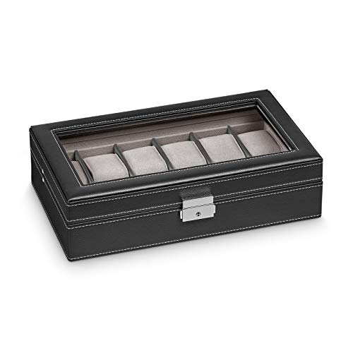 Hermann Jäckle - Uhrenbox Dreieich I Uhren-Box für 12 Uhren I Uhrenbox Lederimitat I Uhrenkasten Lederimitat...