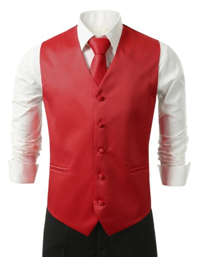 IDARBI Men's 3 Piece Dress Vest, Necktie and Handkerchief for Suit or Tuxedo RED10 4XL