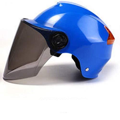 ZYW Unisex Casco De Motocicleta Scooter De Casco De La Motocicleta Harley ABS Casco De Seguridad Anti-UV Cara Descubierta Diseño Único Casco De Montar Medio Casco Informal,Azul