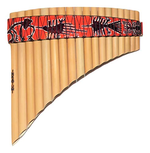 Pan Flute Curved Ramos 18 Pipes Tunable From Peru -Nazca Lines Design -Item in USA Case Included -
