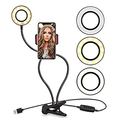 Selfie Ring Light with Stand and Cell Phone Holder,Anyoug Mini LED Ring Light Phone Makeup Light for Live Stream/Makeup with Flexible Arms [3-Light Mode] [10-Level Brightness] for iPhone Android