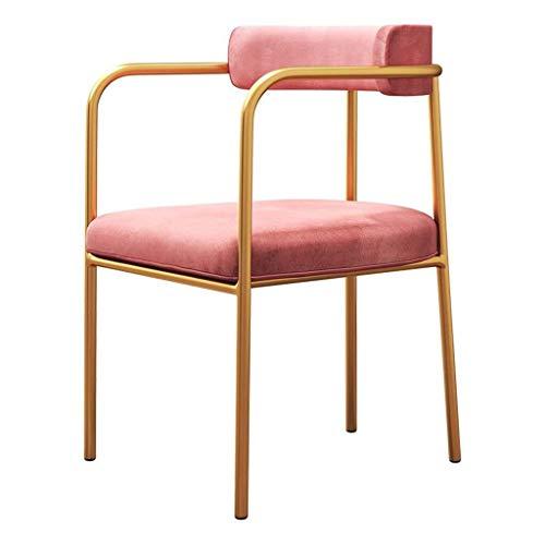 Metal Keuken Stoelen Indoor-Outdoor Velvet Fabric Kussen rugleuning Stevige metalen poten woon/eetkamer Pub Café Stoel Eetkamer Side Chair Ontbijtkeuken Counter Barkruk (Color : Pink)