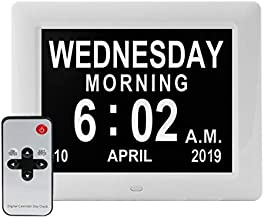 SSINI [Newest Version] Large Display Digital Calendar Day Clock – 12 Alarm Options, Level 5 Auto Dimmable Display, Extra Large Non-Abbreviated Day and Month Perfect for Seniors