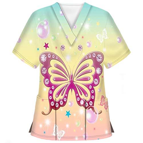 Hotkey Short Sleeve Tops for Women, V-Neck T-Shirts Butterfly Stars Print Carer Tops Nursing Working Uniform Blouses Shirts