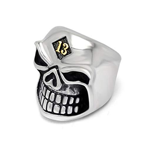 EzzySo Lucky Number 13 Skull Ring, Joyería de Anillo de aleación de la aleación de la Cabeza del Fantasma de los Hombres Estadounidense de Moda (2 PCS),A,12