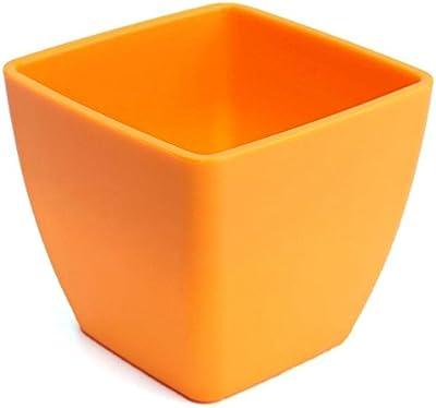 """PlantaZee Indoor/Outdoor Square Orange Plastic Pot Made in India 3pice Color:Orange,Size:hgt-5"""",Dia-3.9"""""""