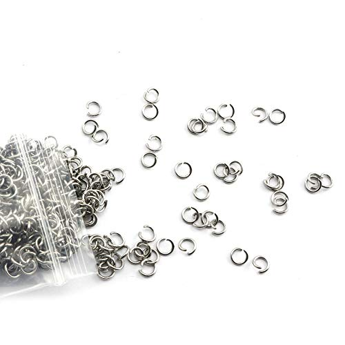 Tegg Open Jump Ring 500PCS 5mm Siver 304 Stainless Steel Open Jump Ring Connectors for Jewelry DIY Finding