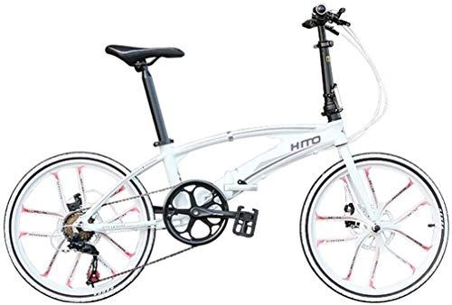 Xiaoyue Fahrräder weiß Student Fahrrad männliche und weibliche Erwachsene Rennrad geeignet for Faltrad Ultralight beweglicher Scheibenbremse 20 Zoll Fahrrad (Farbe: weiß, Größe: 20inch) lalay