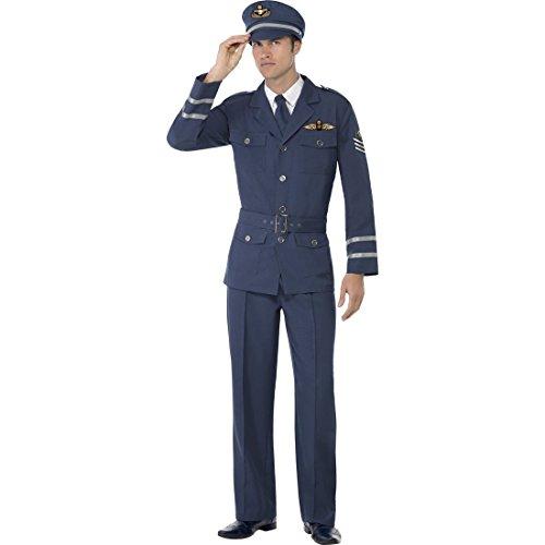 NET TOYS Pilotenkostüm Flieger Kostüm Pilot L 52/54 Piloten Outfit Fliegerkostüm Air Force Flugkapitän Verkleidung