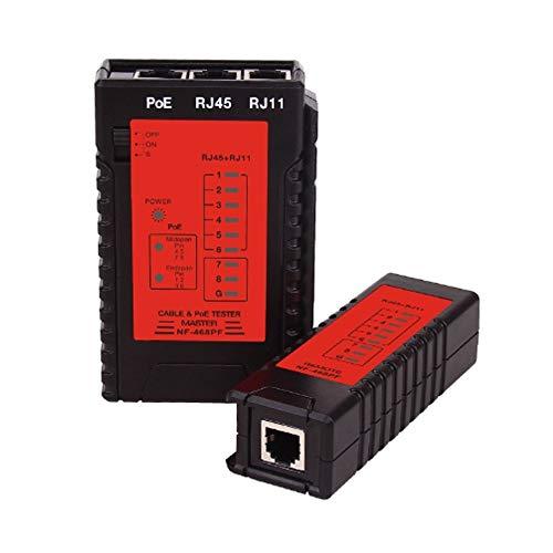 YEZIO Probador de Cables NF-468PF Cable probador de continuidad PoE probador Comprobar RJ11 y Cable RJ45 rápida Detector automático probador de continuidad