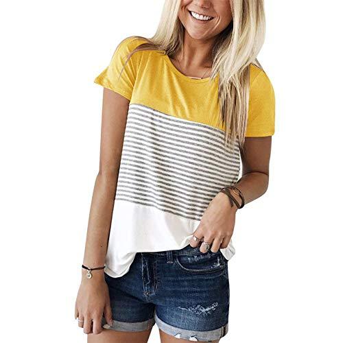 Camiseta De Manga Corta con Costura De Tres Colores A La Moda para Mujer, Camiseta De Verano con Cuello Redondo
