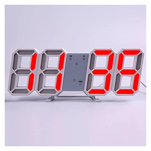 SPFCJL LED Digital Reloj de Pared Alarma Fecha Temperatura Automático Retroiluminación Mesa Mesa Desktop Decoración del hogar Soporte Soporte Relojes de suspensión (Color : Wall Clock 5)