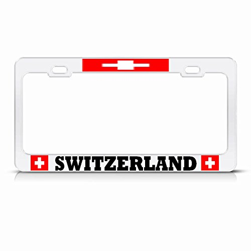 Moon Switzerland Flag White License Plate Frame Swiss Country Pride Auto Tag Perfect for Men Women Car garadge Decor