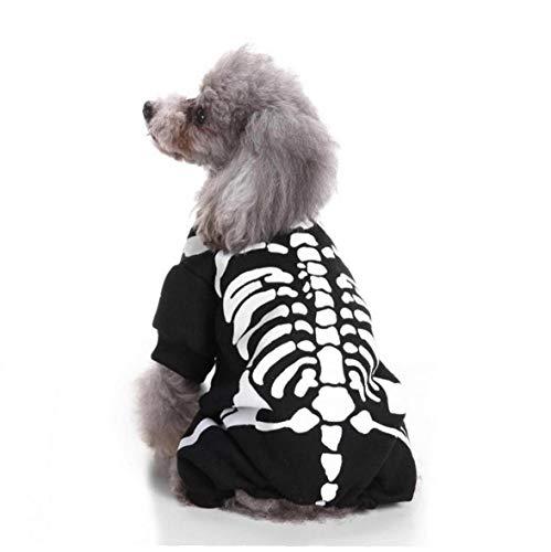 LAANCOO Traje del Perro casero Esqueleto de Halloween, tamaño Cuatro