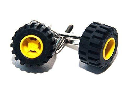Jaune de briques Lego véritable Boutons de manchette – Funky rétro Cool Boutons de manchette fabriqué par Jeff Jeffers