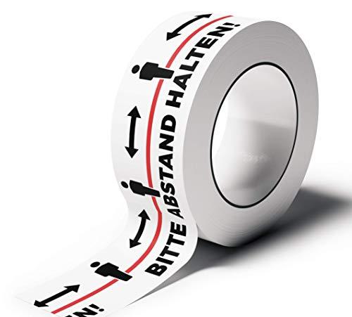 Klebeband Abstand halten - PVC Warnband - Bitte Abstand halten Aufkleber - 66 m Rolle - 5 cm breit - leise abrollend