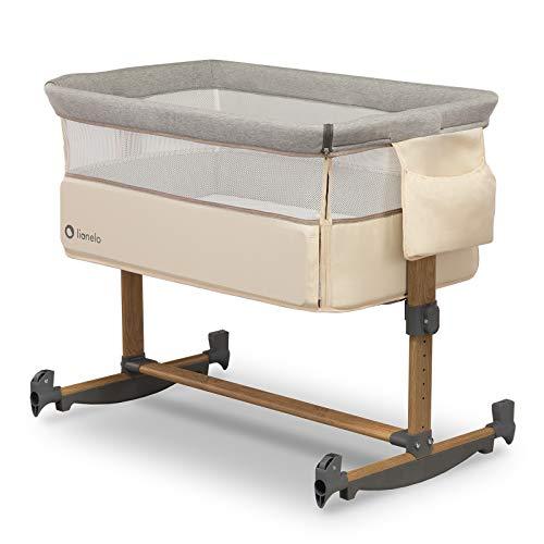 Lionelo Leonie Beistellbett Baby Schaukelfunktion 5-stufige Höhenverstellung Schräglage Matratze abnehmbare Seitenwand Räder Seitentasche Transporttasche (Beige)