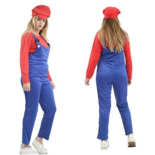 Dames Super Mario Loodgieter Bros Rood Blauw Kostuum Werk Vrouwen Fancy Jurk Outfit