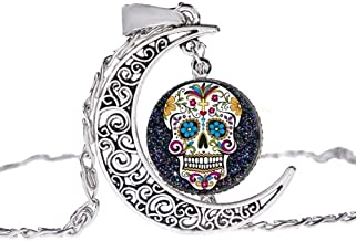 Inveroo Fashion Sugar Skull Necklace Ancient Silver Curved Crescent Moon 3D Effect Glass Photo Cabochon Pendant Boho Jewelry