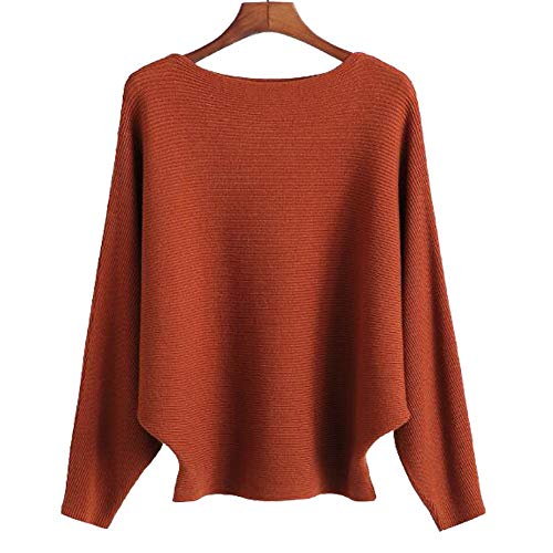 Ckikiou Women Sweaters Batwing Sleeve Casual Cashmere Jumpers Winter Pullovers (Caramel)