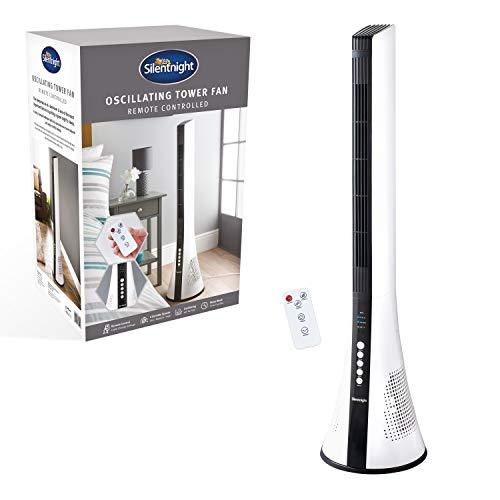 Silentnight 38009 Oscillating Bladeless Tower Fan Remote Control 3 Speeds Slimline Design Timer Sleep Mode, White