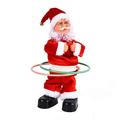 Exnemel Giocattolo di Babbo Natale di Natale, Decorazioni di Figurine di Natale Che cantano e Ballano, Regalo di Ornamento di Festa novità per i Bambini (Hula Hoop)