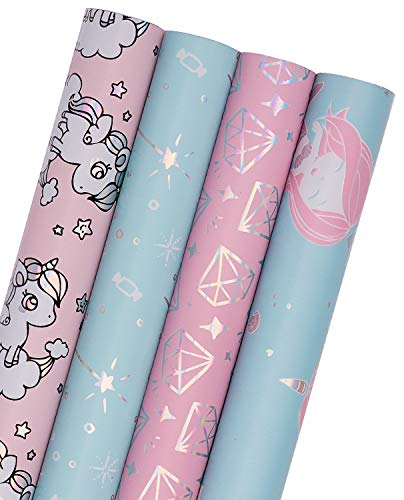 WRAPAHOLIC Wrapping Paper Roll - Mermaid, Fairy Stick and Diamond Cute Design with Colorful Foil for Birthday, Holiday, Baby Shower - 4 Rolls - 30 inch X 120 inch Per Roll