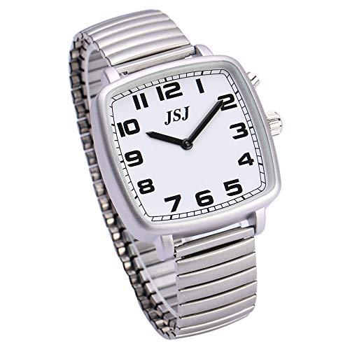 Reloj de pulsera cuadrado con función de despertador, función de voz, hora y fecha, esfera blanca, correa de acero inoxidable TGSW-1701G
