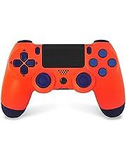PS4ワイヤレスゲームパッドコントローラー、Playstation 4ゲームパッドジョイスティック、デュアルバイブレーションとオーディオを備えたタッチパネルコントローラー,Sunset orange