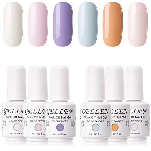 Gellen Gel Nail Polish Kit - Fresh Pastels Tone, 6 Colors Soft Neutral Shades Spring Summer Nail Art Gel Polish Colors Home/Salon Gel Manicure