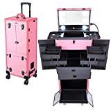 AW Pink Rolling Makeup Case with Mirror Light Pro Large Cosmetic Artists Hair Stylist Barber Organized Trolley Lockable