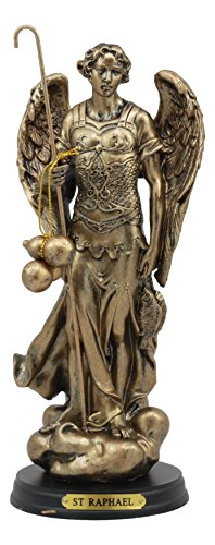 """Ebros Byzantine Eastern Orthodox Catholic Church Archangel of The Angelic Council Statue 8"""" Tall Figurine with Brass Name Plate Wooden Base (Raphael Healing of God)"""