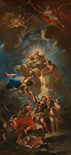 Alegoria da Sabedoria Divina (1680) de Luca Giordano - 50x108 - Tela Canvas Para Quadro