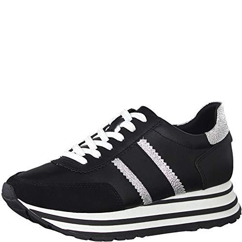 Tamaris Damen Schnürhalbschuhe, Frauen sportlicher Schnürer,lose Einlage, Sneaker schnürer freizeitschuh Plateau-Sohle,Black/Silver,40 EU / 6.5 UK