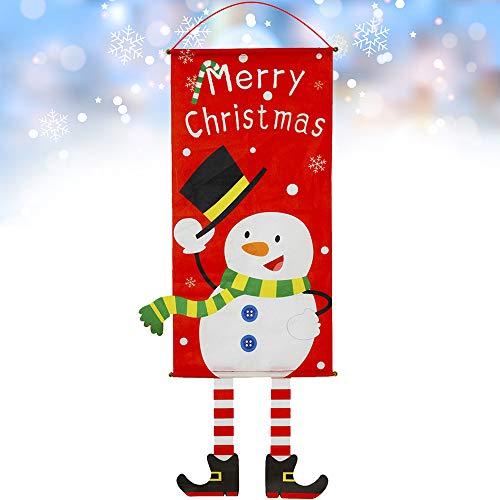 GeeRic Decoración navideña, Bandera navideña Decoración navideña Entrada de la Puerta Navidad 2019 Decoraciones para escaparate Escaparate Ventana Ventana Chimenea Exterior e Interior -Pequeño