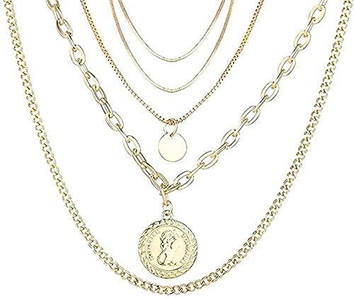 Yiffshunl Collar, Collar Bohemio, Collar Dorado, Retrato, Luna, Perla, Colgante, Collares para Mujer, Collar Largo Vintage, joyería