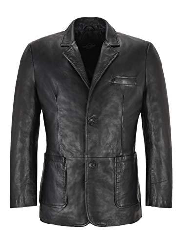 Smart Range Leather Blazer in Pelle da Uomo Cappotto in Vera Pelle Formale Nero a 2 Bottoni Classico 3245 (L)
