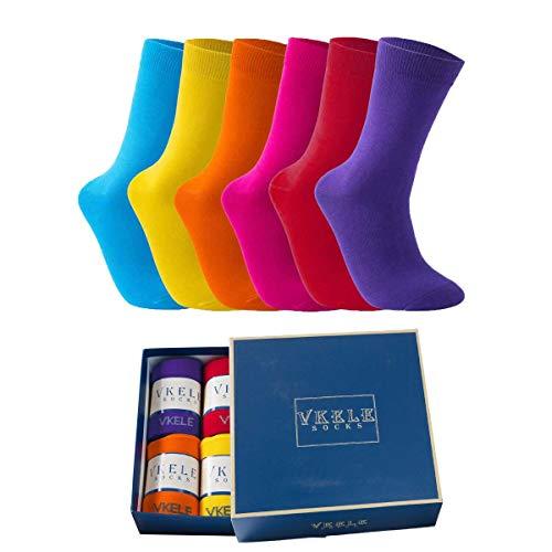 Vkele Bunte Socken (Rot und Orange und Gelb und Lila und Hellblau und Pink) 6 Paar 43-46 Perfekt als Geschenk