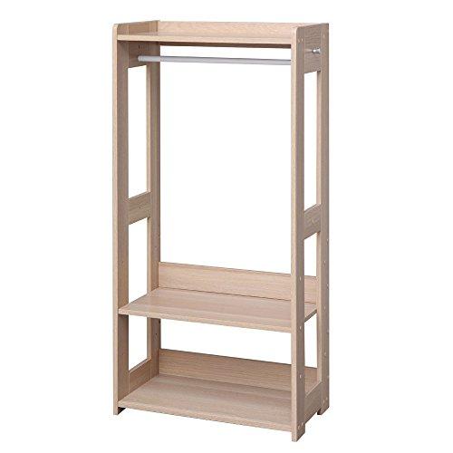 アイリスオーヤマ ワードローブ 木製 幅60×奥行32×高さ120cm ナチュラル KWR-1260