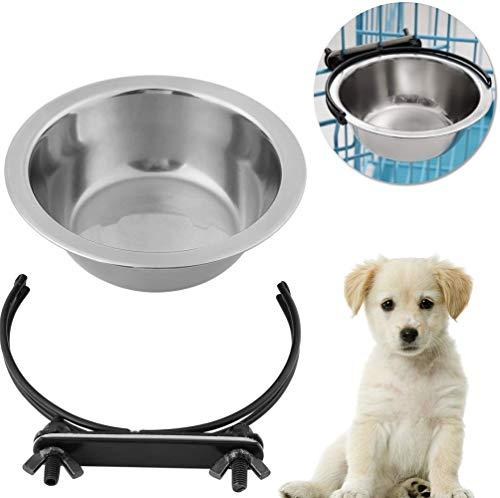 Cuenco colgante mascotas, plato para colgar de acero inoxidable con ganchos Alimentador de agua para alimentos para perros cachorro de gato(M)