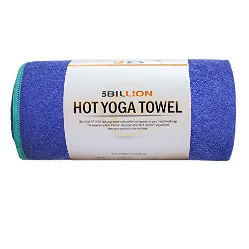 5BILLION Microfibra Toalla de Yoga - 183cm*61cm - Hot Toalla de Yoga, Bikram Toalla de Yoga, Ashtanga Toalla de Yoga - Antideslizante, Absorbente - con Bolsa de Transporte Gratuita (Azul)
