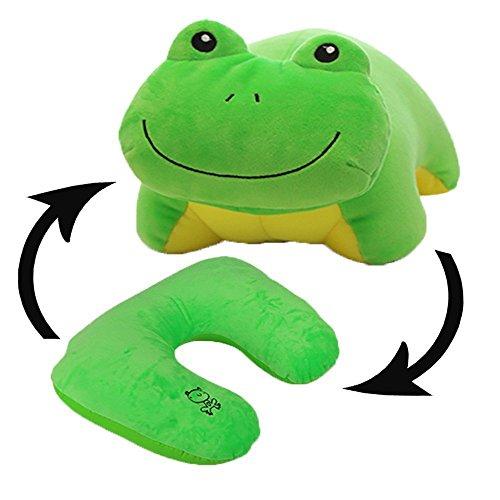 bebe cocoon Animal suave juguetes cambiable almohada de viaje de cuello de almohada U-Pillow (rana)