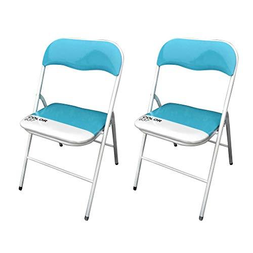 Milani Home s.r.l.s. Set di 2 SEDIE Slim Pieghevoli Blu Color 637 con Comoda Imbottitura nella Seduta per Ospiti, Ufficio, CASA, Campeggio