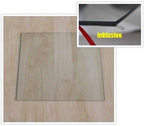 Quadrat 110x110cm - Funkenschutzplatte Kaminbodenplatte Glasplatte f. Kaminofen Unterlage (Quadrat 110x110cm mit Silikon-Dichtung)