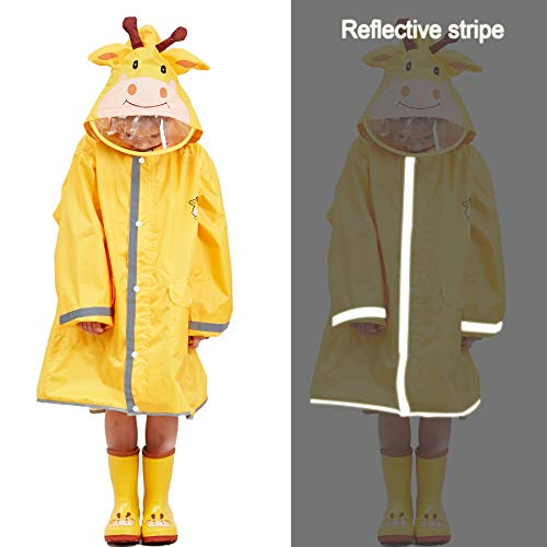 LIVACASA Boys Girls Rain Poncho Hooded Kids Waterproof Reflective Raincoat Breathable Cute Animal Pattern with Adjustable Waist Windproof Cuff Yellow S 2-4 Years