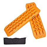 ECOTRIC Recovery Boards Traction Tracks Mat for Sand Mud Snow Off Road Tire Ladder Black 4WD W/Storage Bag - Orange