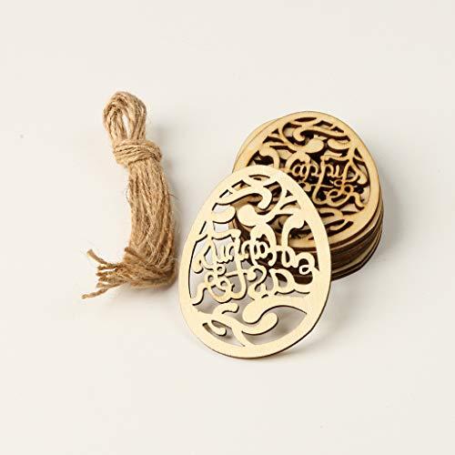 Yanni - Confezione da 10 ciondoli decorativi con incisione laser a forma di uovo di Pasqua con cordino