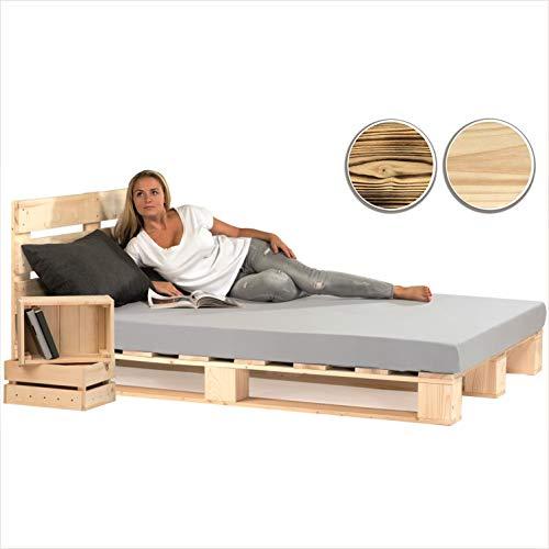 sunnypillow Palettenbett mit Kopfteil 180 x 200 cm Holzbett Bett aus Paletten Palettenmöbel Naturholz Fichte europalette