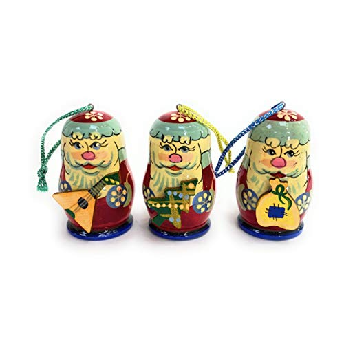 A Set of Christmas Tree Decorations Made of Wood Winter Miracle.Each Toy is lovingly Carved and Painted by an Artist from St. Petersburg.Handmade in Russia by RUS Heritage.